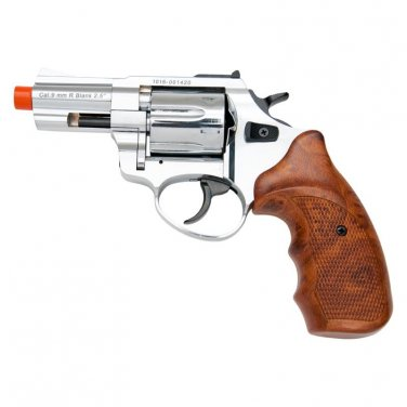 "Zoraki R1 2.5"" Barrel Revolver Chrome Finish Wood Grips Front Firing Gun"