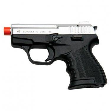 Zoraki M906 Chrome Finish - 9MM Front Firing Blank Pistol Semi-Auto Gun