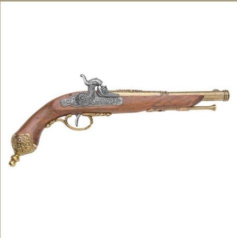 Colonial Italian 1825 Brass Percussion Dueling Flintlock Non-Firing Replica