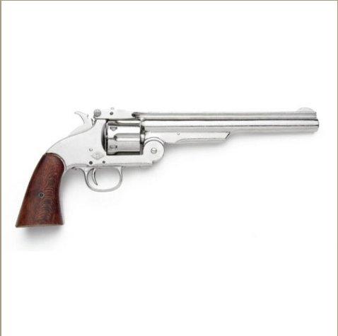 Old West M1869 Schofield Nickel Finish Pistol - Non-Firing Replica