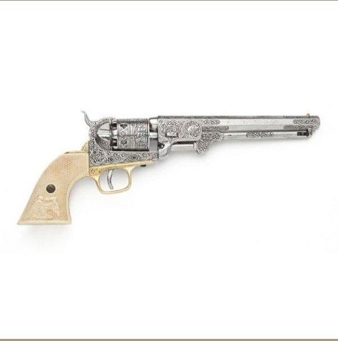 Civil War M1851 Replica Engrave Silver Navy Pistol Non-Firing Gun