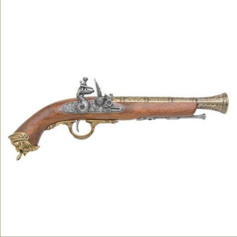 Pirate Replica Brass Flintlock Non-Firing Gun