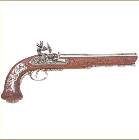 Colonial Replica French Silver Dueling Pistol Non-Firing Gun