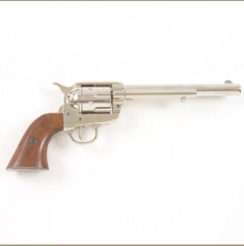 Old West M1873 Nickel Finish Cavalry Barrel Replica Revolver Non-Firing Gun