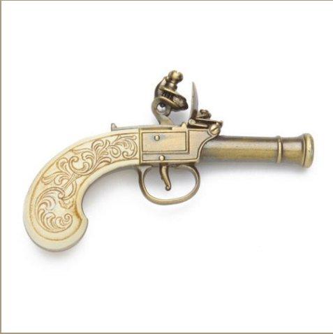 Replica Colonial Gold Finish Ladies Muff Flintlock Pistol Non-Firing Gun