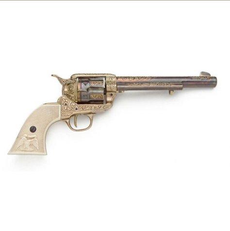 Old West Replica Gold Engraved Revolver Non-Firing Gun