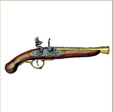 Replica Early 18TH Century Brass Trim German Flintlock Non-Firing Gun