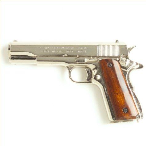 Replica M1911 Nickel Finish Wood Gripped Government Automatic Pistol Non-Firing Gun