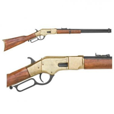 Old West Replica M1866 Brass Finish Lever Action Rifle Non-Firing Gun