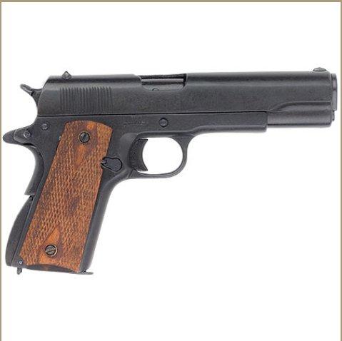 Us Gov. M1911 Checkered Wood Grips Black