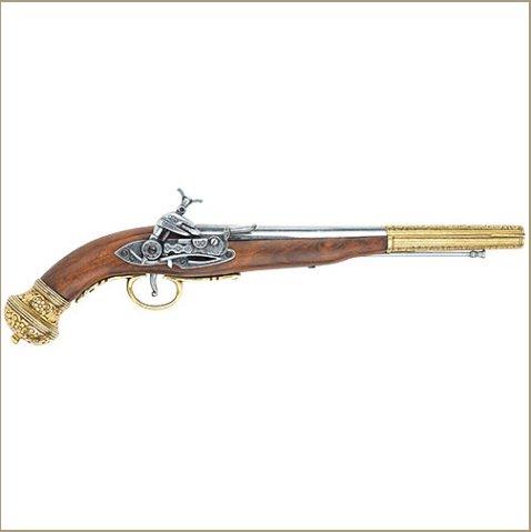 """Russian"" 19th Century Flintlock Pistol Brass Finish"