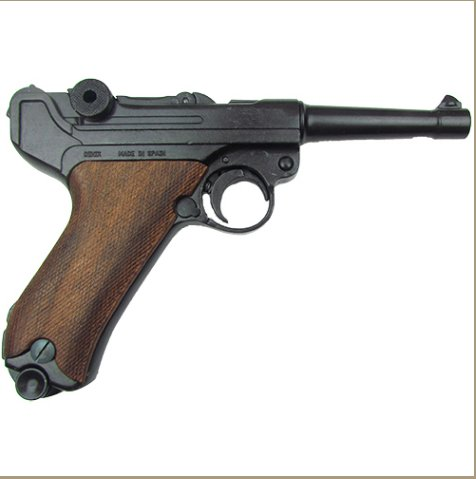 Replica Denix German Luger Parabellum P-08 WWI - WWII Non-Firing Replica Wood Grips