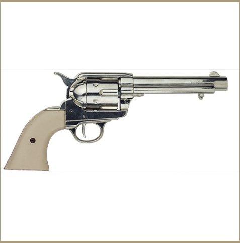 Old West Frontier Replica Nickel Finish, Ivory Grips Revolver Non-Firing Gun