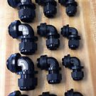 """15 Pc Kit Strain Relief  Right Angle Cord Grip Gland  3/8"""" 1/2"""" 3/4"""" 90 Degree"""