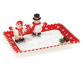 Peppermint Snowman Platter with Salt & Pepper Shakers