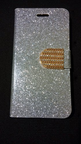 Iphone 6 Silver Bling Diamond Leather Case