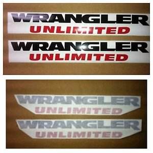 Jeep Wrangler Unlimited 2 Pc Set Decals Black And Red Cj