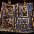 Blue Cat Print Handbag