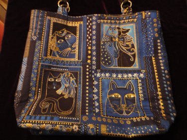 Blue Cat Print Handbag
