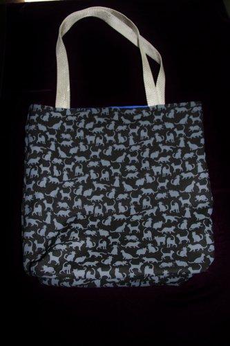 Black & Gray Cat Print Handy Tote