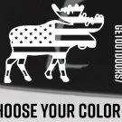 """Moose USA Flag Sticker 5.5"""" US American Sitka Gear Black Red White Decal XO"""