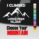 "14ers Sticker Decal 5"" DIE CUT I Climbed Colorado 14er Hiking Longs Peak XO"