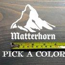 """Matterhorn Sticker Decal 4"""" Die Cut Mountain Silhouette Switzerland Red White XO"""