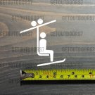 "Skier Ski Lift Sticker Decal 2.5"" Salomon Rossi Blizzard Skis Die Cut Volkl XO"