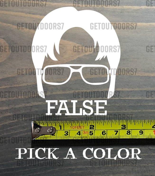"""Dwight Schrute Sticker Decal 3.5"""" False The Office Beets Bears Battlestar XO"""