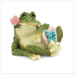 Frog With Rose And Heart Box Figurine