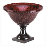 Red mosaic Mosaic Footed Compote