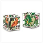 Stained glass bird votive holders