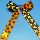 Orange and Black Candy Corn Cheer Hair Bow with Streamers (Item no. 00019)