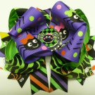 Stacked Green Zebra and Halloween Spider Hair Bow (Item no. 00017)