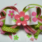 Cute as a Button Spring Flowers Hair Bow (Item no. 00003)