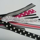 Black and Pink with Bunnies Pony-O Hair Bow (Item no. 00054)