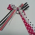 Black and Pink with Bunnies Stacked Cheer Hair Bow with Streamers (Item no. 00053)