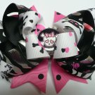 Black and Pink Skull Hair Bow (Item no. 00048)