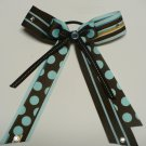 Brown and Blue Dots and Stripes Stacked Cheer Hair Bow with Streamers (Item no. 00041)