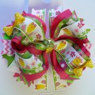 Pink and Green Easter Chick Hair Bow