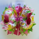 Pink, Green, and Yellow Easter Chick Hair Bow