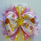 Pink and Purple Girly Easter Chick Hair Bow