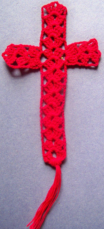 Red Cross Bookmark Crochet 100% Cotton Thread