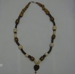 """Chocolate Caramel and Cream"" Wooden Beaded Necklace"