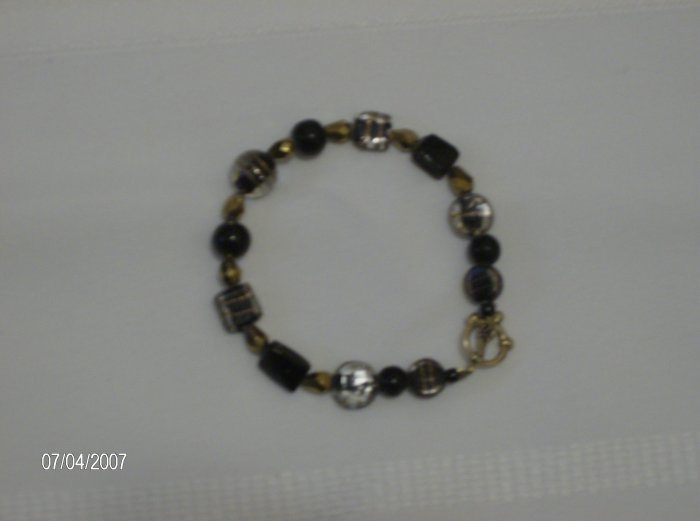 """Black lickerish"" Glass beaded Bracelet"