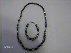 Black and Silver Glass bead set (Necklace and Bracelet)