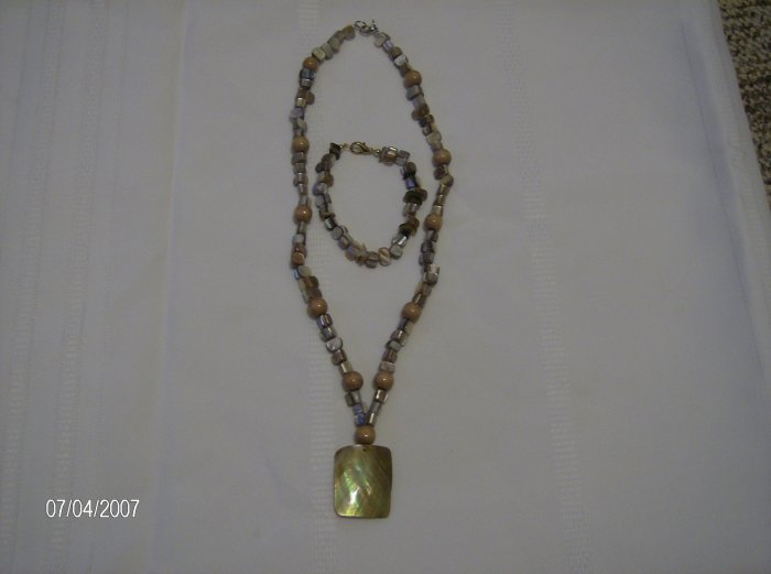 Glass Bead necklace with Wooden Bead Accents and Square Pendant and Matching Bracelet