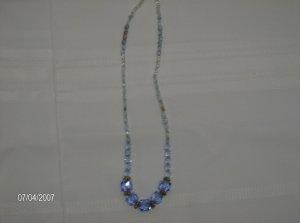 """Blue Raspberry"" Blue Glass Bead Necklace"