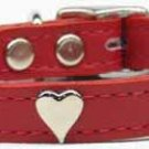 "10""-14"" Heart Accent Color Leather Dog Collar Sizes"