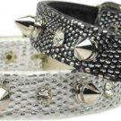 Faux Snake Skin Spike & Crystal Dog Collar